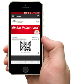 image of dinnerdata global points card on mobile